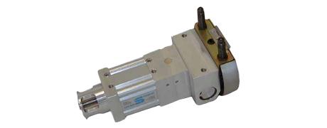 Antrieb einer Sägeketten-Schärfmaschine mit Hub- und Drehbewegung